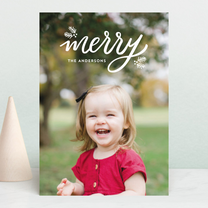 """""""Festive Merry"""" - Holiday Postcards in Snow by Little Print Design."""