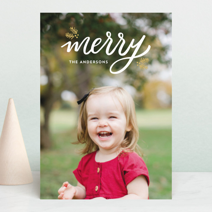 """Festive Merry"" - Holiday Postcards in Golden by Little Print Design."