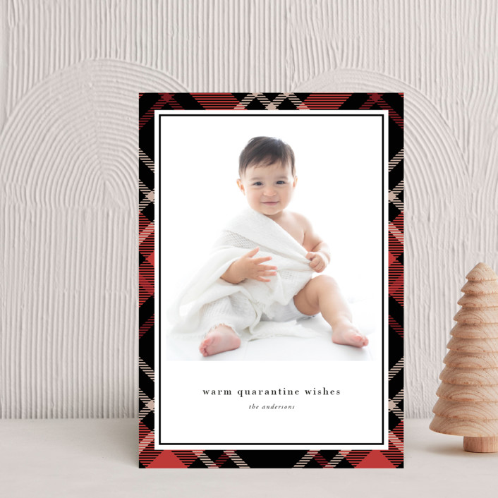 """""""Joyful Plaid"""" - Holiday Postcards in Scarlet by That Girl Press."""