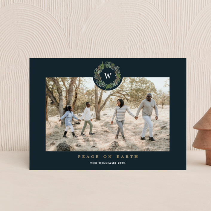 """""""Peace on Earth"""" - Holiday Postcards in Navy by Susan Moyal."""
