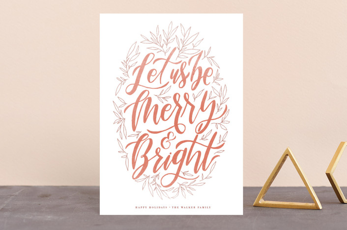 """""""Let Us Be Merry"""" - Holiday Postcards in Persimmon by Grace Kreinbrink."""