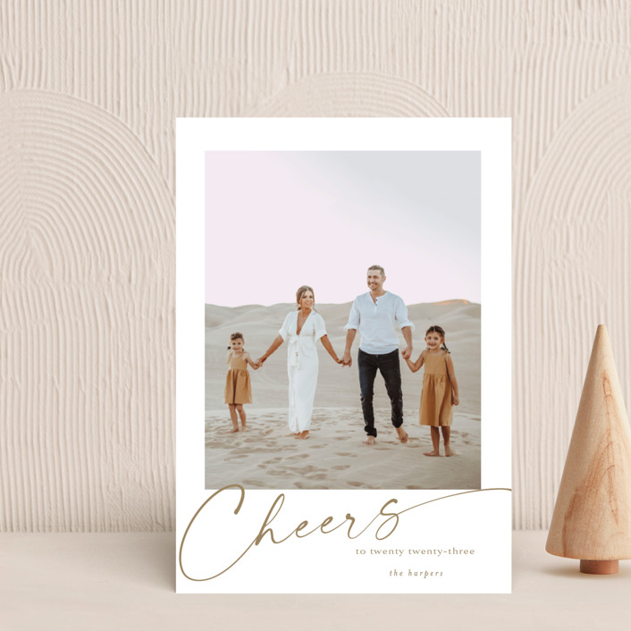 """""""yearly cheers"""" - Holiday Postcards in Chestnut by Kasia Labocki."""