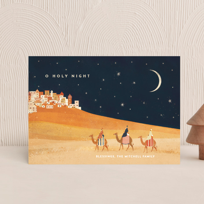 """""""O Holy Night"""" - Vintage Holiday Postcards in Midnight by Laura Mitchell."""