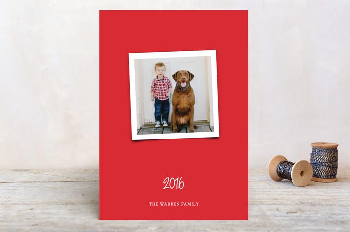 """Joyfully Modern"" - Bold typographic, Modern Holiday Postcards in Crimson by Paper Dahlia."