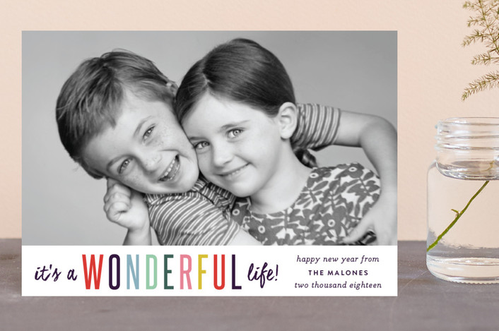 """It's A Wonderful Life"" - Modern Holiday Postcards in Plum by Sara Hicks Malone."