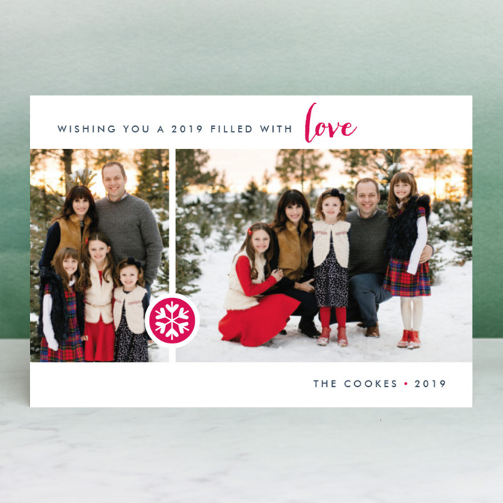"""Season of Love"" - Holiday Postcards in Raspberry by Three Kisses Studio."