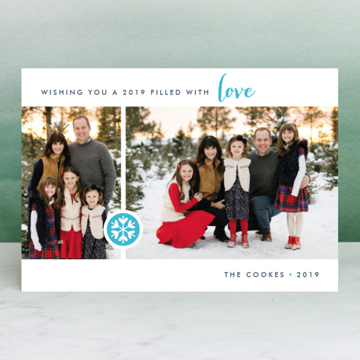 """""""Season of Love"""" - Holiday Postcards in Raspberry by Three Kisses Studio."""