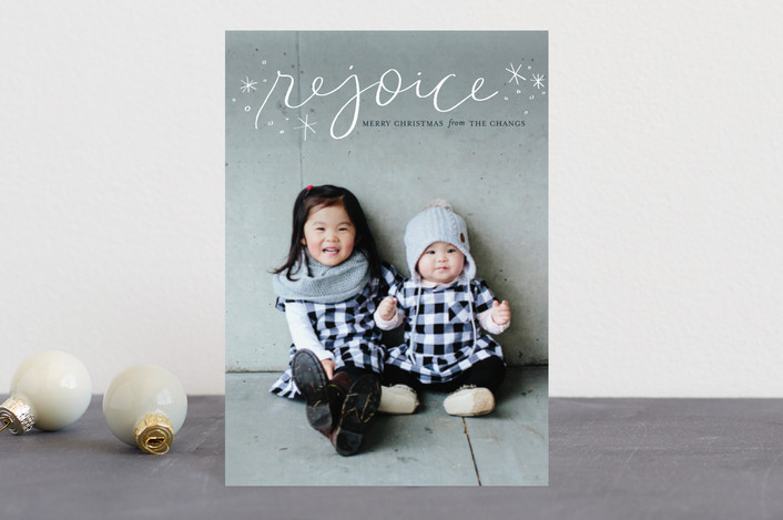 """Legato Rejoice"" - Holiday Postcards in Marshmallow by Frooted Design."