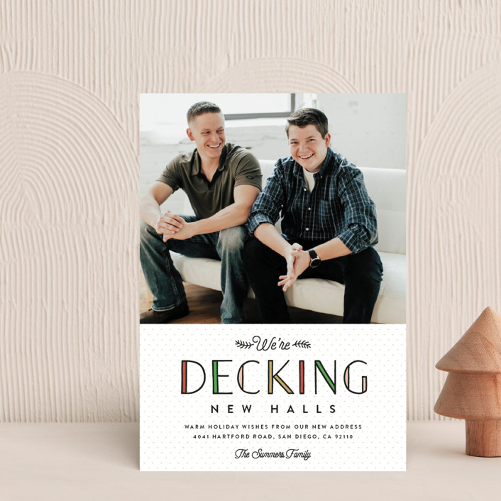 """Deck the New Halls"" - Holiday Postcards in Ivory by Erica Krystek."