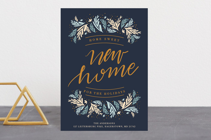 """""""New Home Foliage"""" - Holiday Postcards in Navy by Bethany Anderson."""