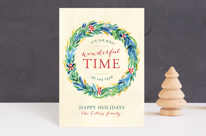 """""""Wonderful Time"""" - Holiday Postcards in Eggnog by Alexandra Dzh."""