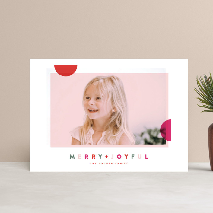"""Modern Dot"" - Modern Holiday Postcards in Berry by Oscar & Emma."