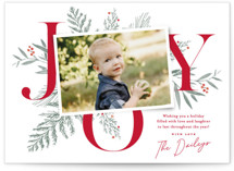 This is a red christmas postcard by Oscar & Emma called Joy Greenery with standard printing on signature in postcard.