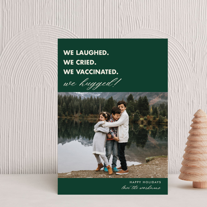 """""""We Made It"""" - Funny Holiday Postcards in Pine by Beth Schneider."""