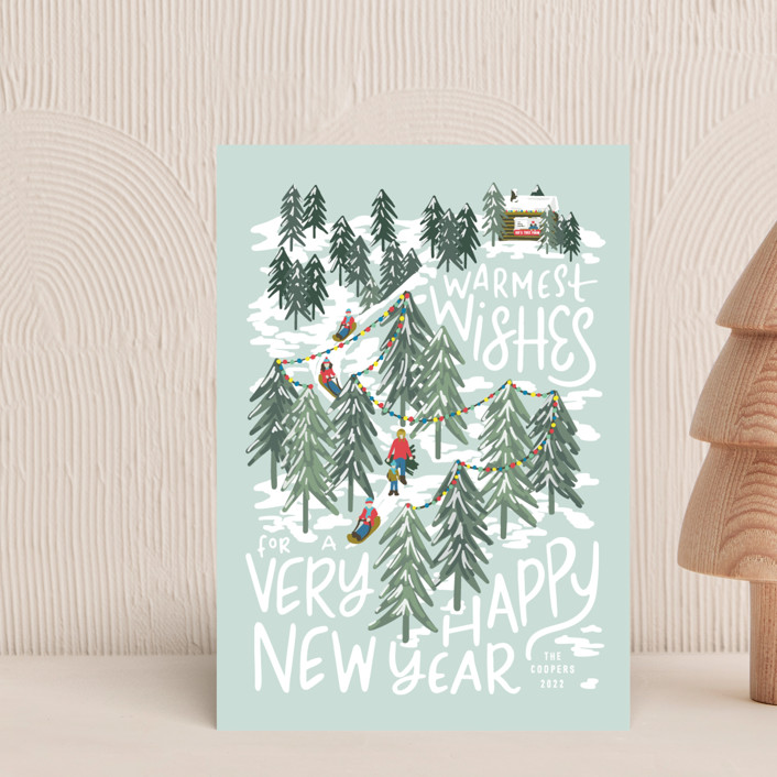 """""""Winter Scene"""" - Holiday Postcards in Peppermint by Meggy Masters."""