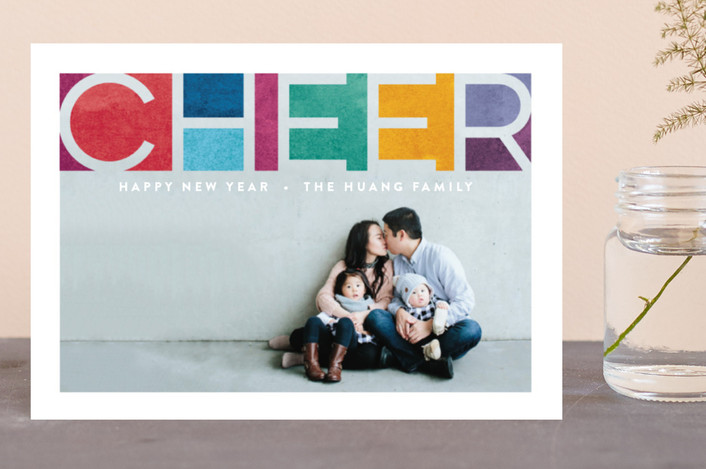 """Prismatic Faith"" - Modern Holiday Postcards in Rainbow by Hooray Creative."