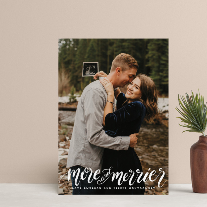 """""""More & Merrier"""" - Holiday Postcards in Snow by Pink House Press."""