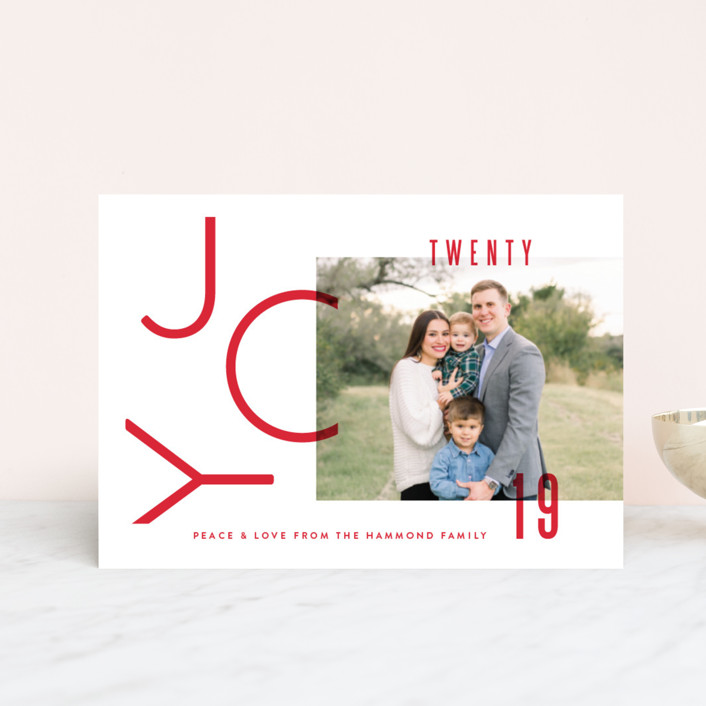 """Modern Joy"" - Holiday Postcards in Berry by Oscar & Emma."