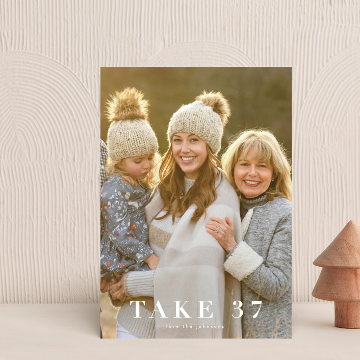 """take 37"" - Funny Holiday Postcards in Snow by Kasia Labocki."
