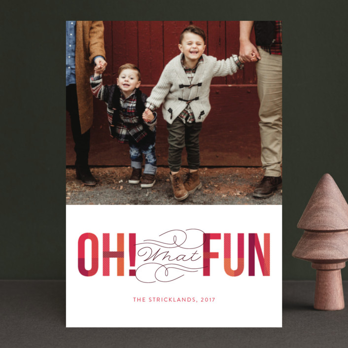 """Oh! What Fun"" - Holiday Postcards in Cranberry by Ann Gardner."
