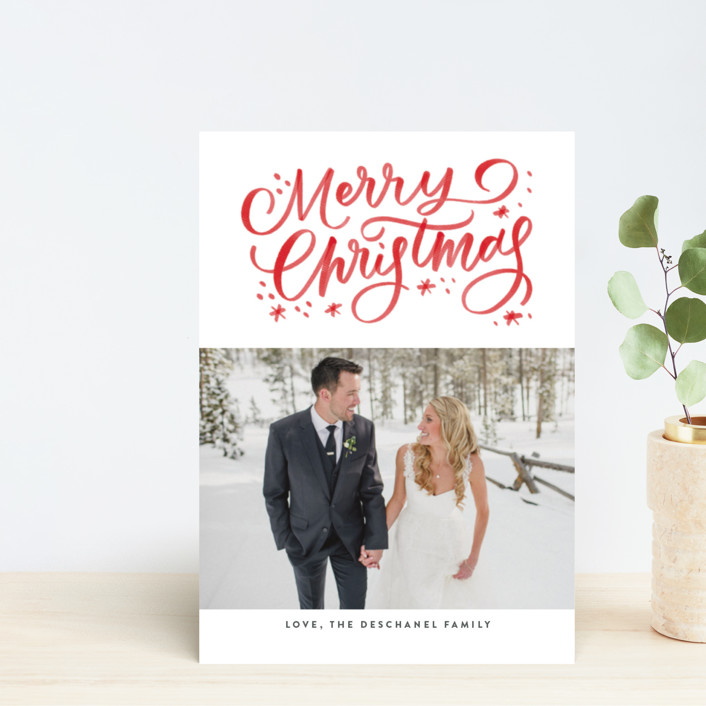 """""""Christmas Watercolor"""" - Holiday Postcards in Holly by Up Up Creative."""