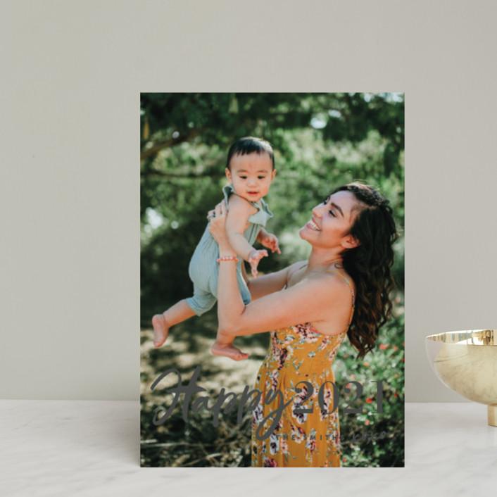 """New Year XOXO"" - Modern Holiday Postcards in Lemon by Chryssi Tsoupanarias."