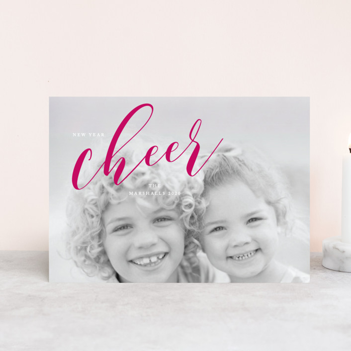 """A Cheer to 2019"" - Holiday Postcards in Cerise by Benita Crandall."