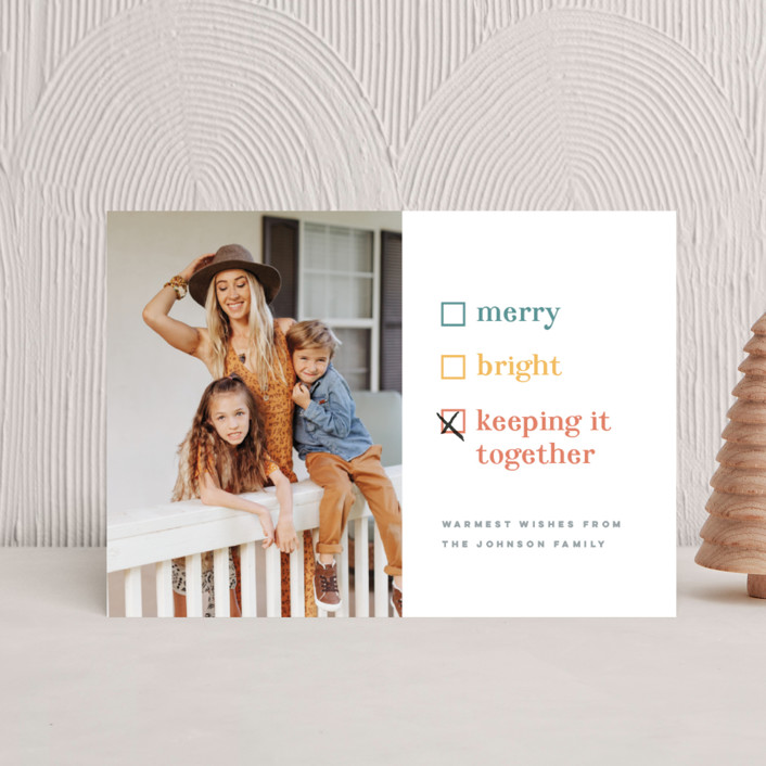 """Keeping it together"" - Funny Holiday Postcards in Cornucopia by Pink House Press."