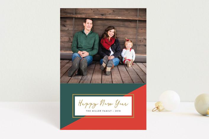 """Colorblock"" - Holiday Postcards in Poinsettia by Erica Krystek."