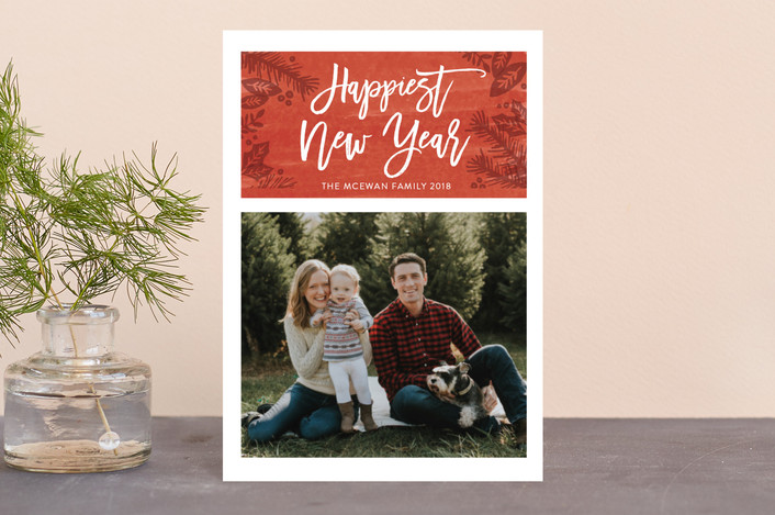 """Festive Foliage"" - Holiday Postcards in Berry by Kate Sorensen."