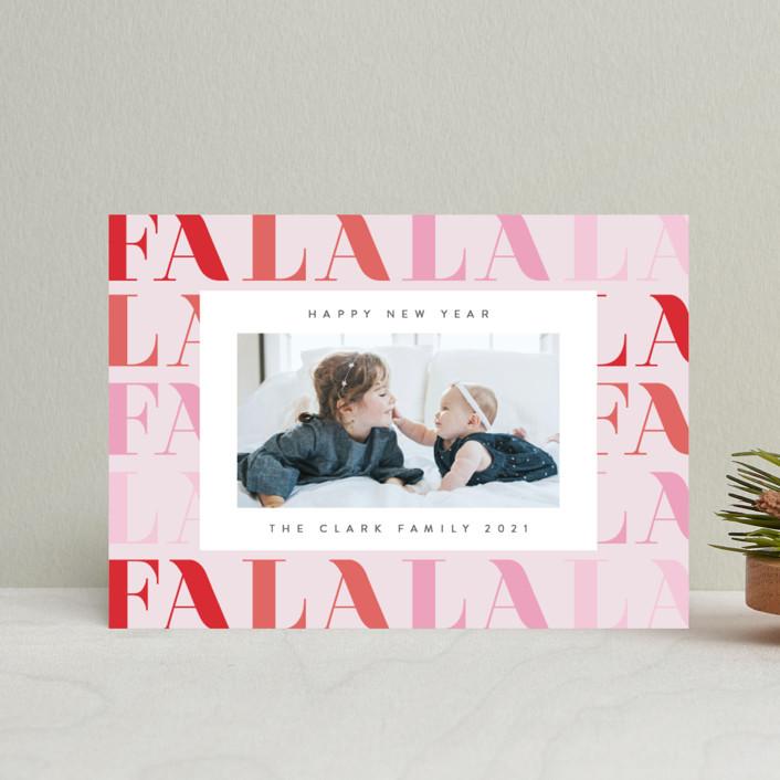 """Pretty Fa La La"" - Modern Holiday Postcards in Candy by Ana Sharpe."