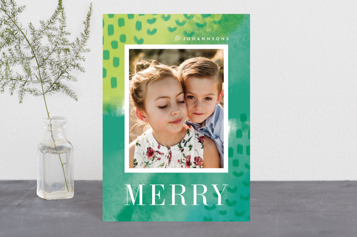 """""""Bright Boho"""" - Bohemian Holiday Postcards in Lime by Kristie Kern."""