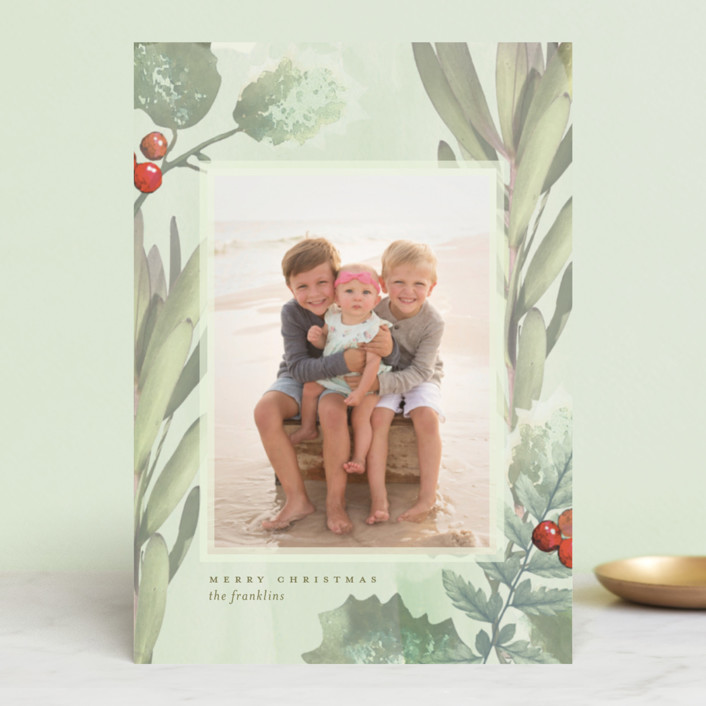 """""""Pastel Holly"""" - Holiday Postcards in Sour Apple by Baumbirdy."""