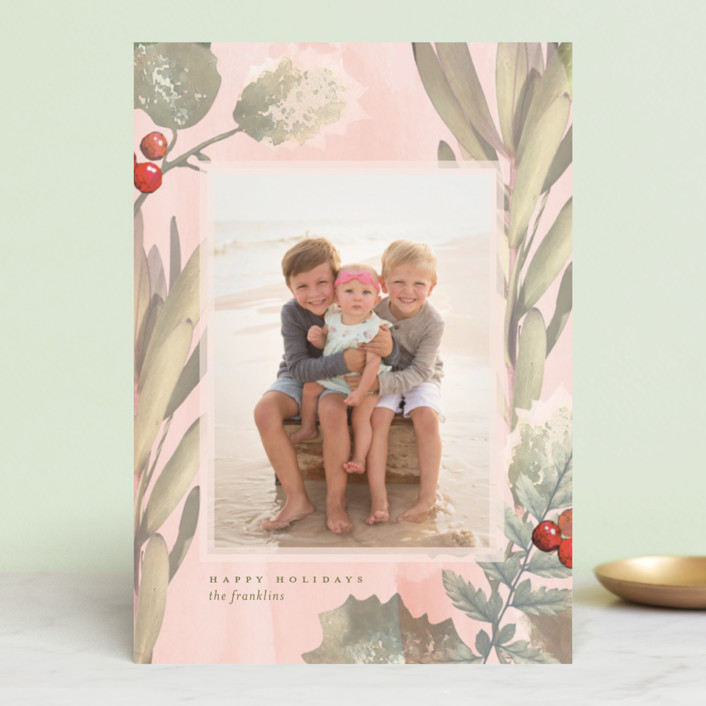 """Pastel Holly"" - Holiday Postcards in Blush by Baumbirdy."