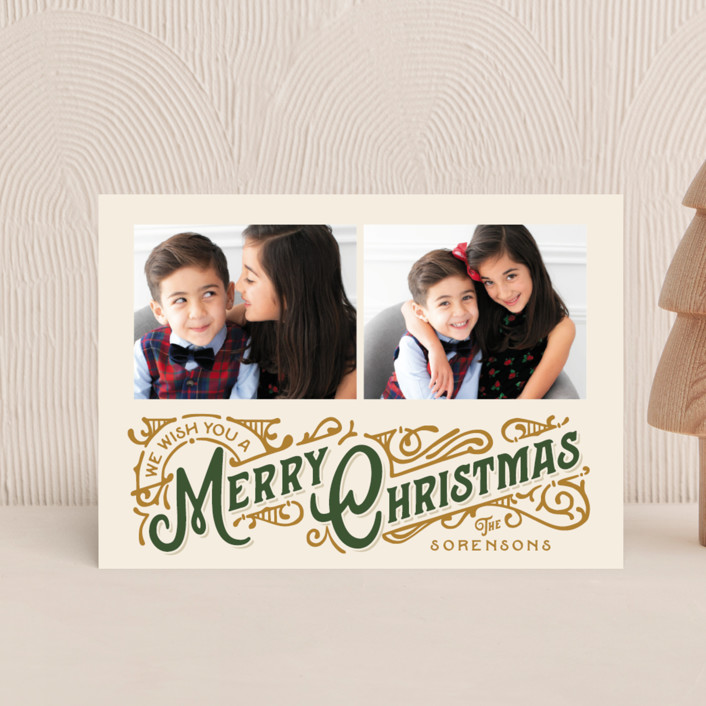 """""""Christmas Poster"""" - Vintage Holiday Postcards in Evergreen by GeekInk Design."""