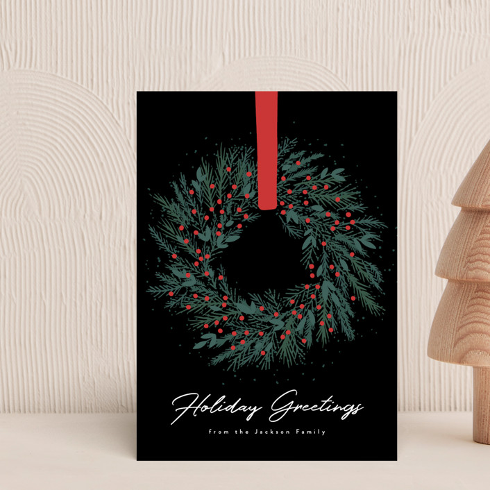 """""""Holiday Wreath"""" - Holiday Postcards in Onyx by Kacey Kendrick Wagner."""