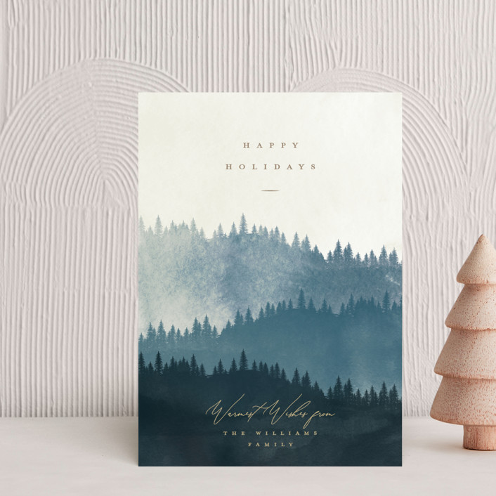 """Wooded Hills"" - Bohemian Holiday Postcards in Navy by Robert and Stella."