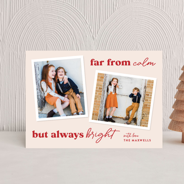 """""""Far From Calm"""" - Funny Holiday Postcards in Cranberry by Melissa Egan of Pistols."""