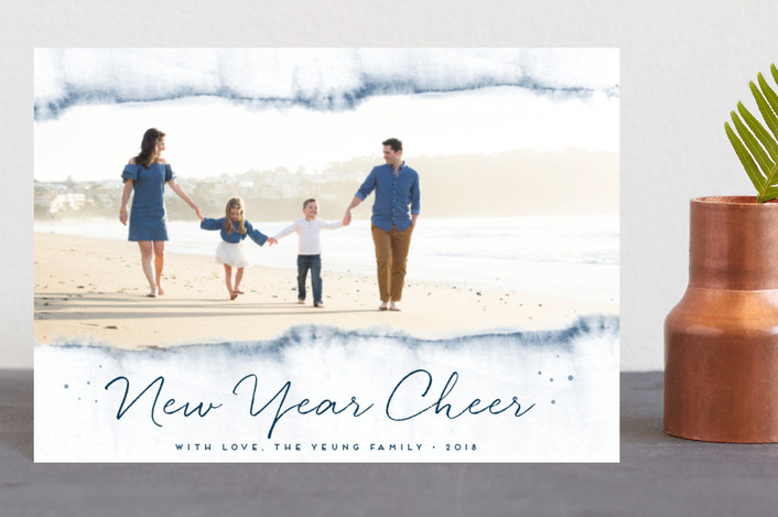 """""""Watercolored Holiday Magic"""" - Holiday Postcards in Sapphire by Maria Hilas Louie."""