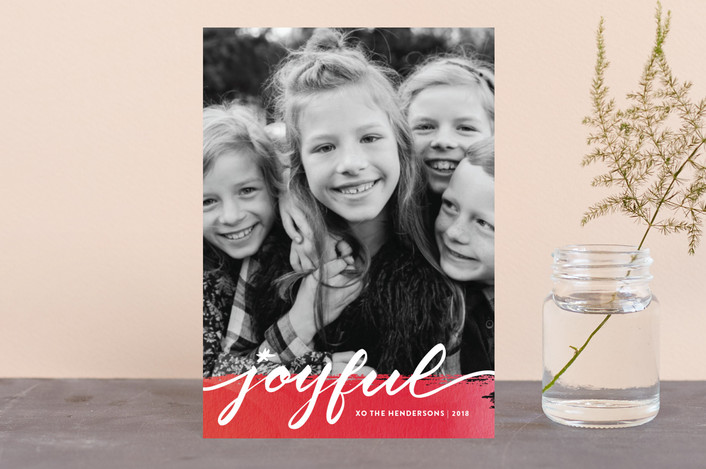 """""""Joyful art"""" - Holiday Postcards in Soft red by Stacey Meacham."""