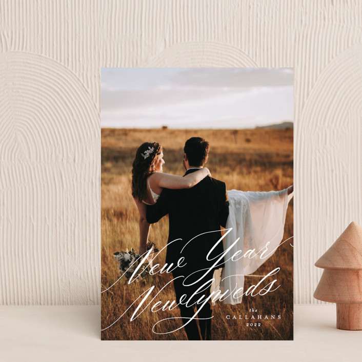 """""""New Year Newlyweds"""" - Holiday Postcards in Poppy by Ella Weaver."""