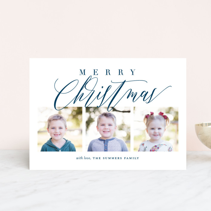 """Scripted Trio"" - Holiday Postcards in Navy by Jessica Williams."