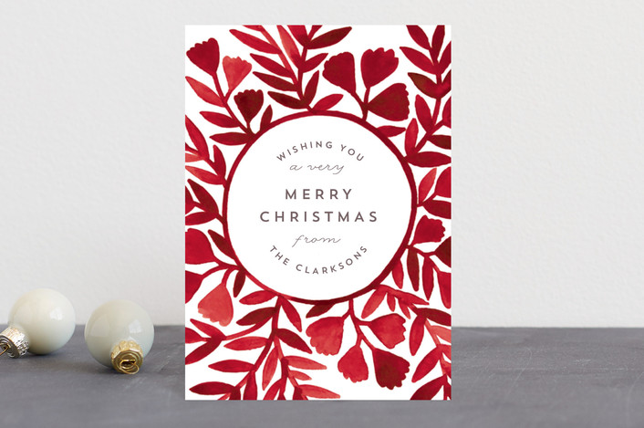 """Painted Watercolor Wreath"" - Holiday Postcards in Cherry by Katharine Watson."