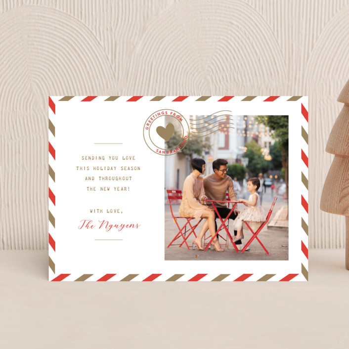 """Holiday Air Mail"" - Holiday Postcards in Cranberry by The Social Type."