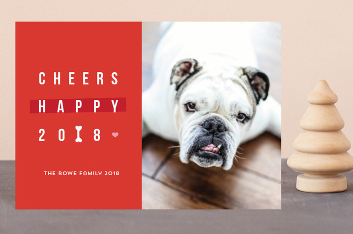 """Happy happy Howlidays"" - Funny Holiday Postcards in Vermilion by Anupama."
