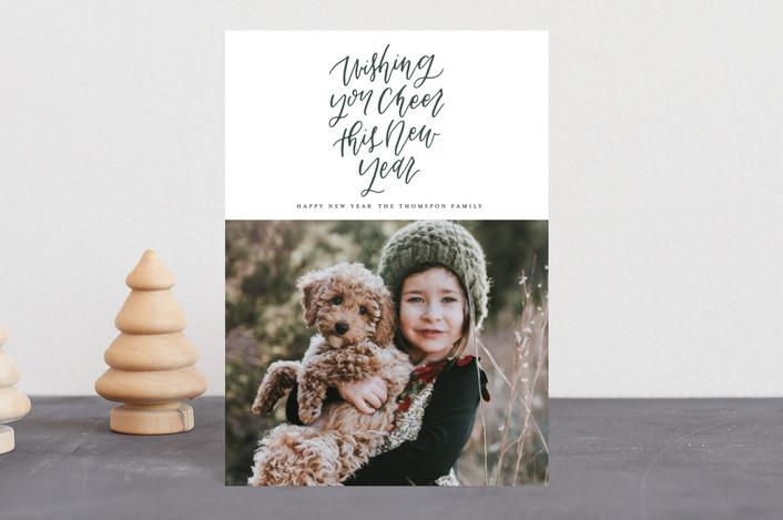 """Modern Script"" - Holiday Postcards in Pine by Grace Kreinbrink."