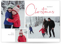 This is a red christmas postcard by Cass Loh called Journal  with standard printing on signature in postcard.
