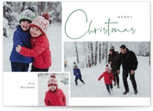 This is a green christmas postcard by Cass Loh called Journal  with standard printing on signature in postcard.