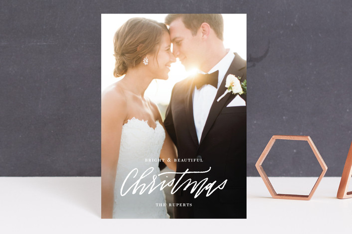 """Newlywed Glam"" - Holiday Postcards in Snow by Cheer Up Press."