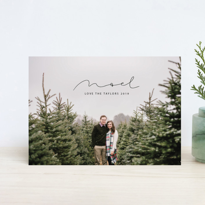 """""""minimal noel"""" - Holiday Postcards in Charcoal by Still and Mundane."""